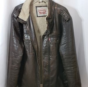 Levi Strauss Faux Brown Leather Bomber Jacket 2XL